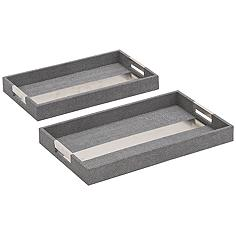 Barrett Faux Leather Chrome Accent Tray 2-Piece Set