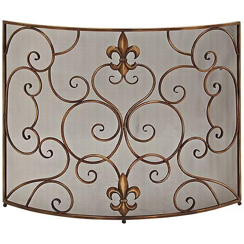 """Fleur-de-Lis 33"""" High Bronze Iron Fireplace Screen"""