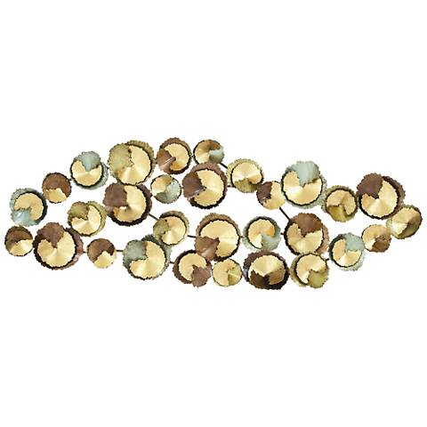 """Abstract Circles Multi-Color 62"""" Wide Metal Wall Art"""