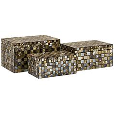 Noida Glass and Mirrored Mosaic 3-Piece Boxes Set