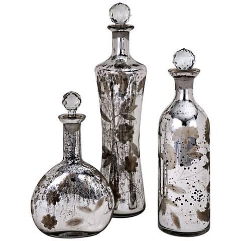 Madison Etched Mercury Glass Lidded 3-Piece Bottles Set