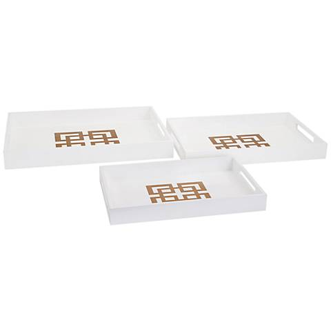 Giselle White Lacquer 3-Piece Trays Set