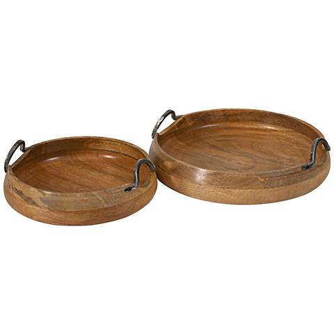 Vallari Round Mango Wood 2-Piece Trays Set