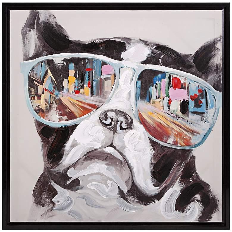 "City Shades 34"" High Dog Framed Canvas Wall"