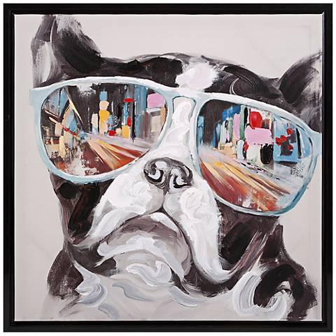 "City Shades 34"" High Dog Framed Canvas Wall Art"