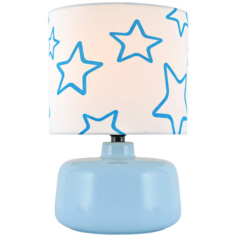 Lite Source Twinkle Light Blue Ceramic Accent Table