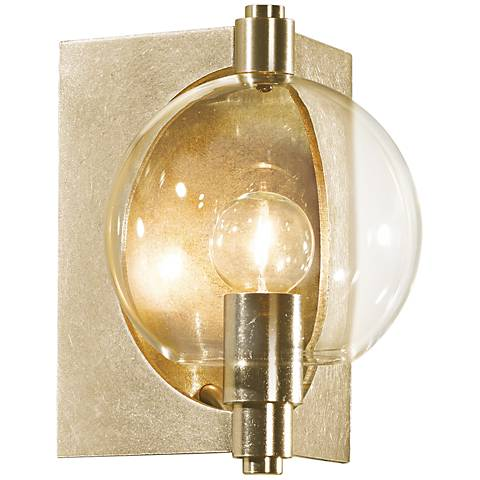 "Hubbardton Forge Pluto Clear 8 3/4""H Gold Wall Sconce"