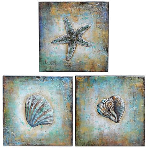 "Shell 20"" Square Canvas Wall Art Set of 3"