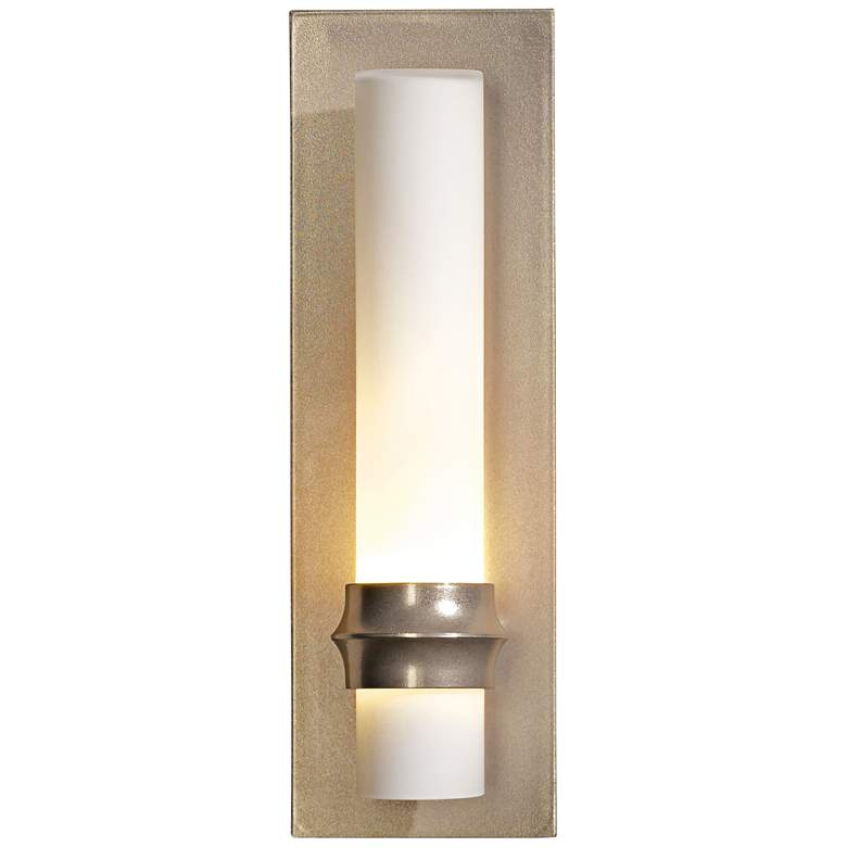 "Hubbardton Forge Rook Gold 14""H Opal Glass Wall"