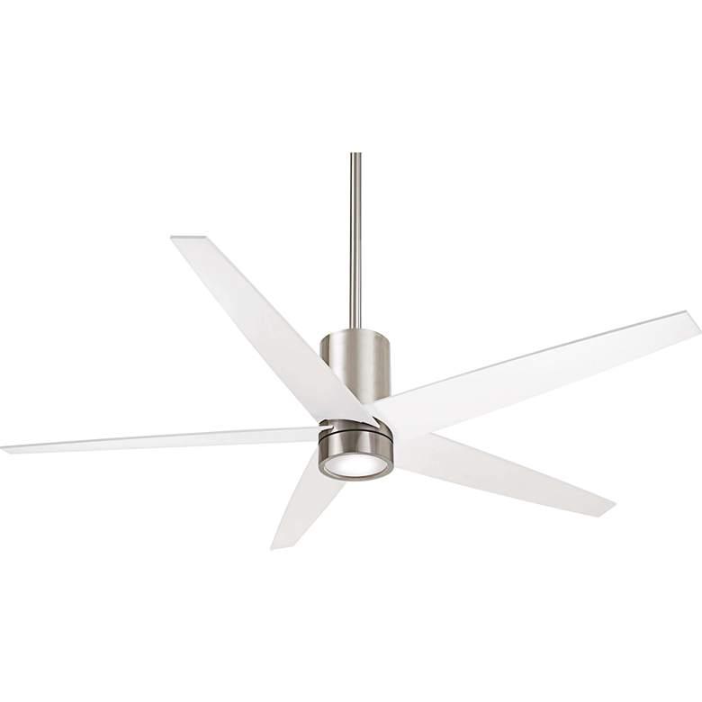 "56"" Minka Aire Symbio White - Nickel LED Ceiling Fan"