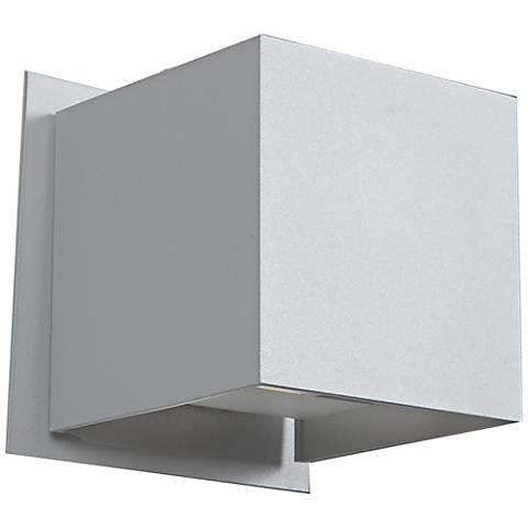 """Square 4 1/4""""H LED Satin Nickel Medium Outdoor Wall Light"""