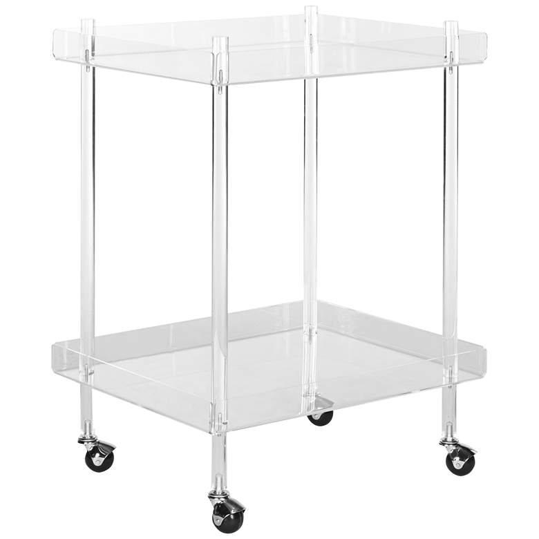 "Healy 25 1/2"" Wide Clear Acrylic 2-Shelf Rolling Bar Cart"
