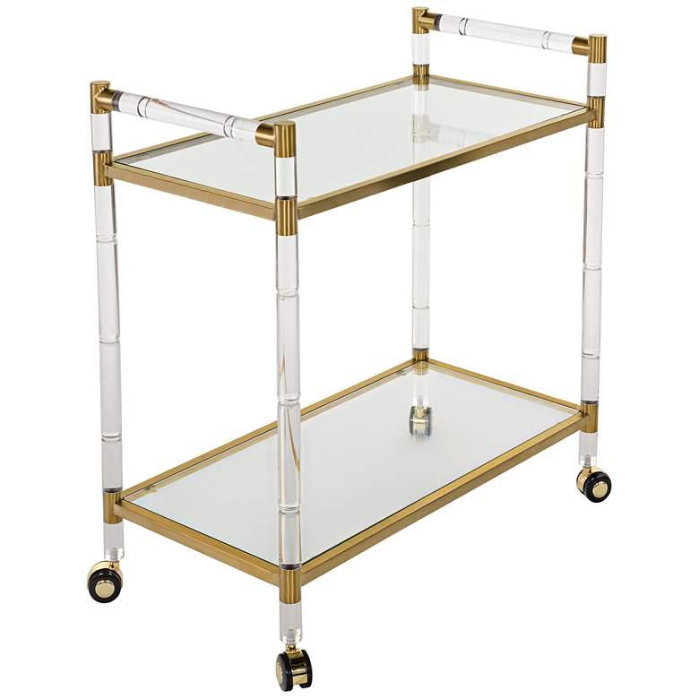Duval Rectangular Glass 2-Shelf Bronze Brass Bar Cart
