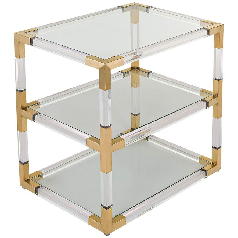 "Louisa 28"" Wide Glass and Clear Acrylic Luxe End Table"