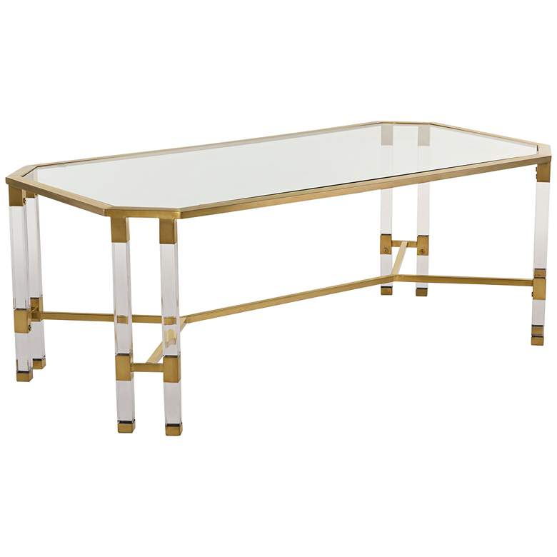 "Chandon 48"" Wide Clear Glass Luxe Coffee Table"