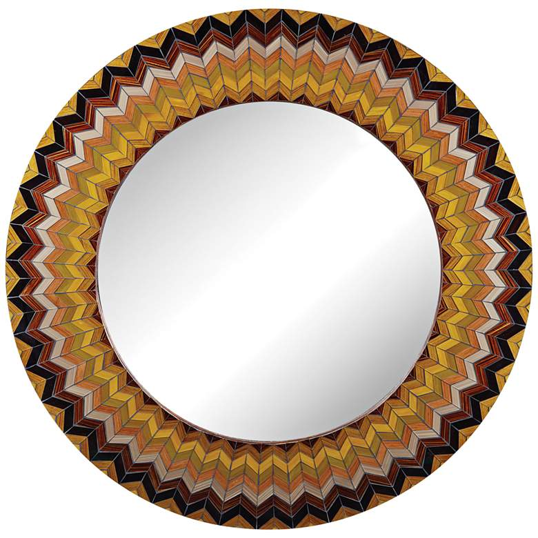 Earth Starburst Multi Color Chevron 32 Round Wall Mirror