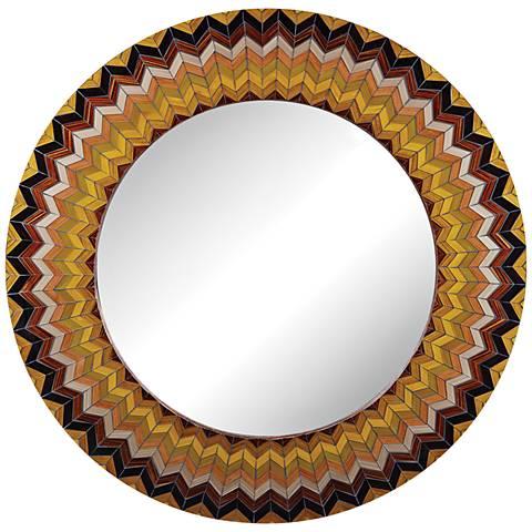 """Earth Starburst Chevron 32"""" Round Multi-Color Wall Mirror"""