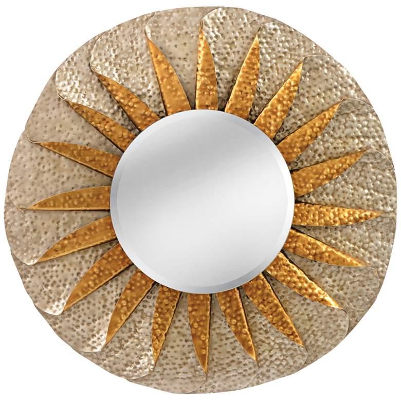 """Minako Hammered Silver 35"""" Round Sunburst Wall Mirror"""