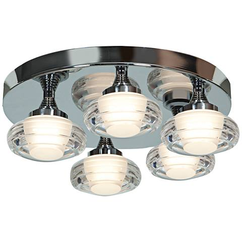 "Optix Acrylic 16"" Wide 5-Light LED Chrome Ceiling Light"
