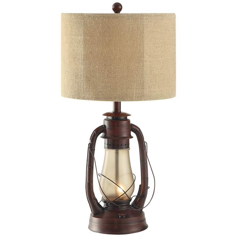 Crestview Rustic Red Lantern Table Lamp with Nightlight
