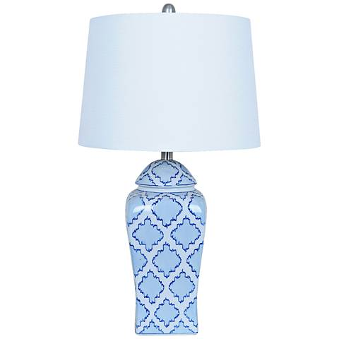 Crestview Collection Blue Mosaic Ginger Jar Table Lamp