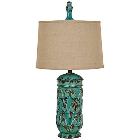 Crestview Songbird Serenade Turquoise Urn Table Lamp