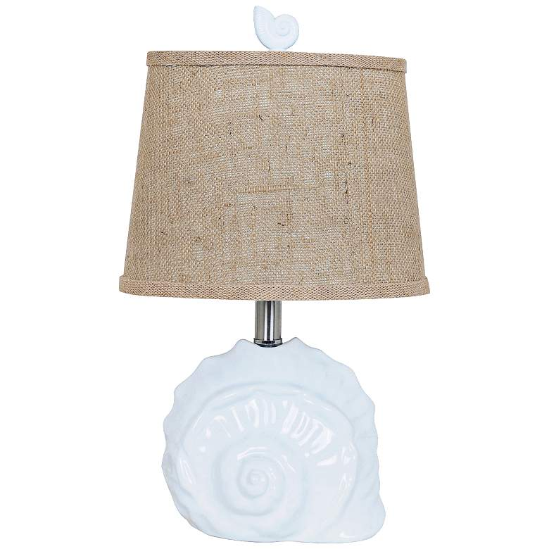 "Crestview 19""H Collection White Ceramic Shell Accent Lamp"