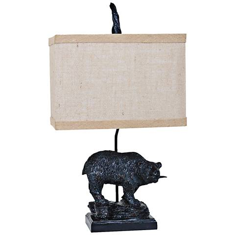 Crestview Fishing Bear Bronze Carved Table Lamp
