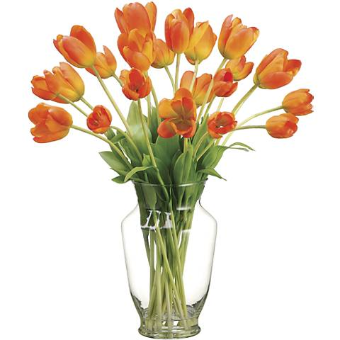 """Orange Tulip 22"""" High Faux Floral Arrangement"""