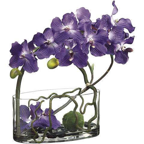 "Vanda and Moss Ball 18"" High Faux Floral Arrangement"