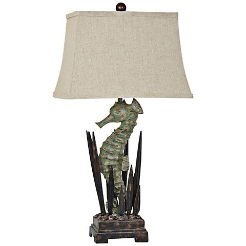 Crestview Collection Antique Green Seahorse Table Lamp
