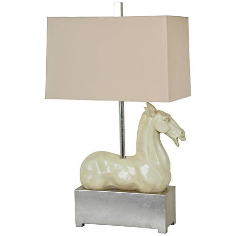 Crestview Collection Grecco Ivory Horse Table Lamp