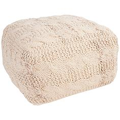 Jaipur Milford Ivory White Wool Square Pouf Ottoman