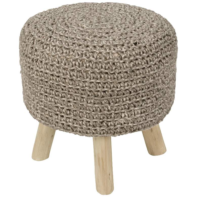 Jaipur Westport Pumice Stone Wool With Wooden Legs Ottoman