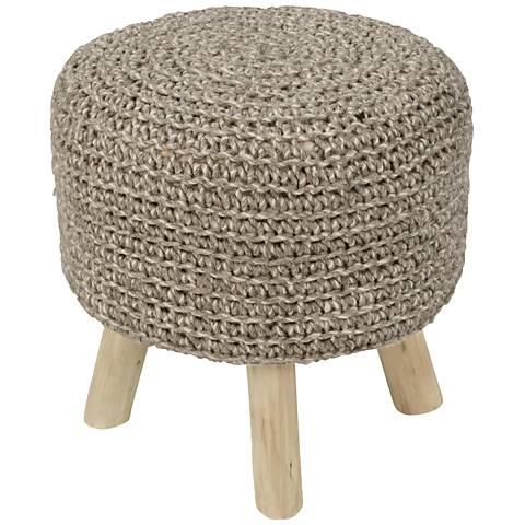 Jaipur Westport Pumice Stone Wool With Wooden Legs Ottoman