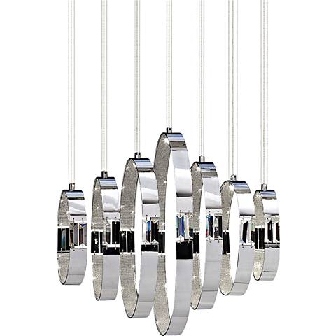 "Glade 24 3/4""-W 7-Light LED Pendant in Chrome by Eurofase"