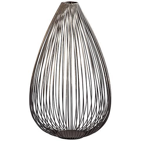 "Pagoda Graphite 15"" High Decorative Iron Vase"