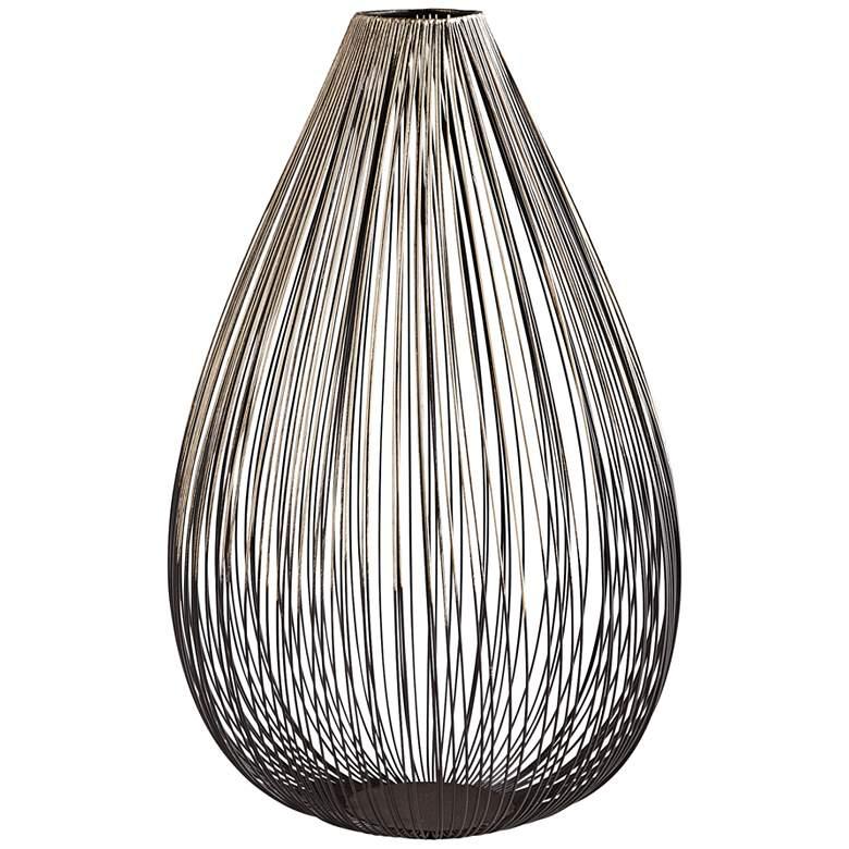 "Pagoda 12"" High Graphite Decorative Wire Vase"