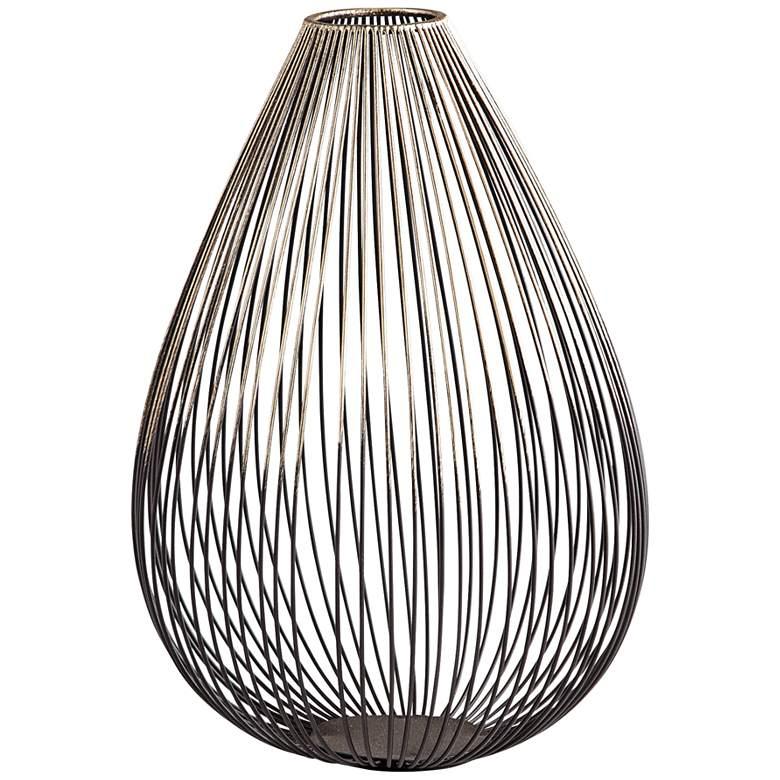 """Pagoda Graphite Iron 10 1/2"""" High Modern Wire Vase"""