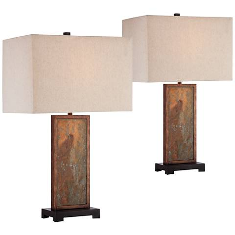 Yukon Natural Slate Table Lamp Set of 2