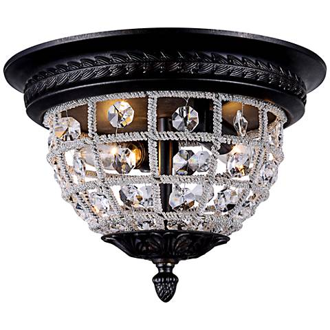 "Olivia 8 1/2"" High Royal-Cut Crystal Bronze Ceiling Light"