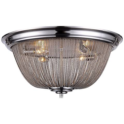 """Paloma 24"""" Wide Pewter Chain 4-Light Nickel Ceiling Light"""