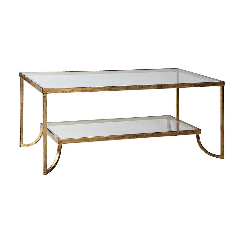 """Katina 47"""" Wide Antiqued Gold Leaf Glass Coffee Table"""