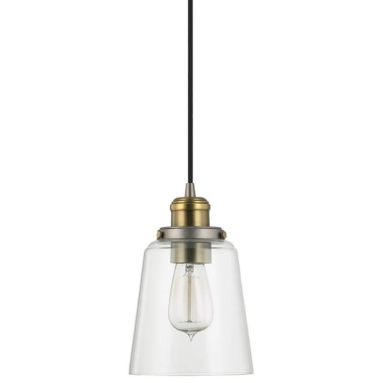 "Capital 6"" Wide Graphite and Aged Brass Mini Pendant Light"