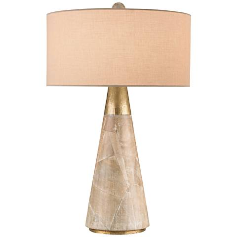 Currey and Company Babylon Washed Wood and Brass Table Lamp
