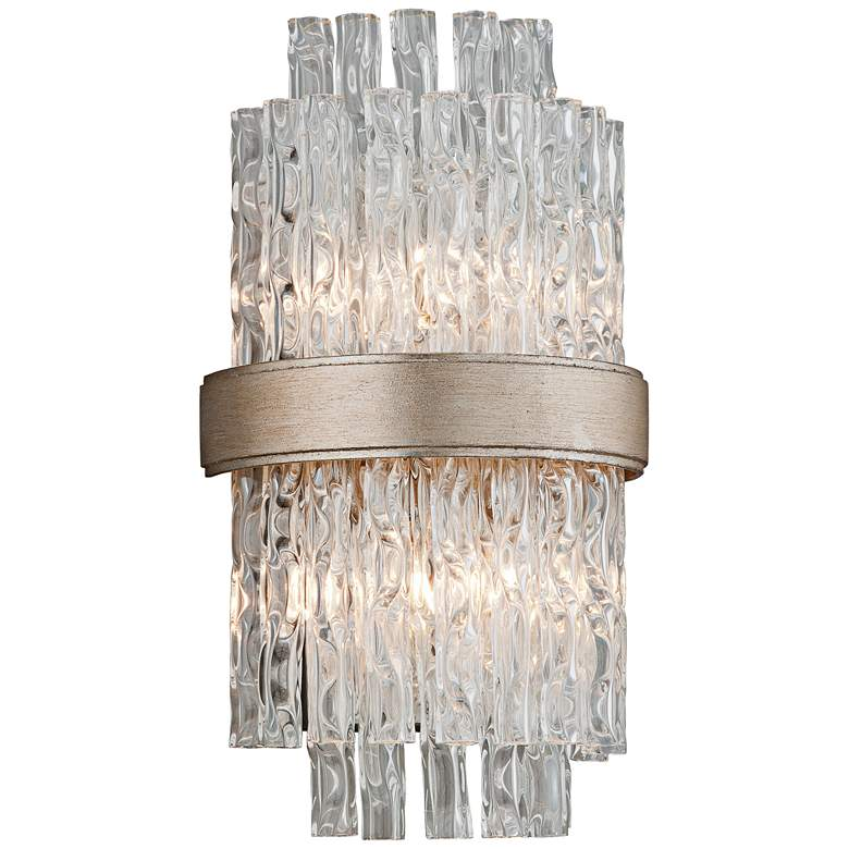 """Corbett Chime 14"""" High Silver and Tubular Glass Wall Sconce"""