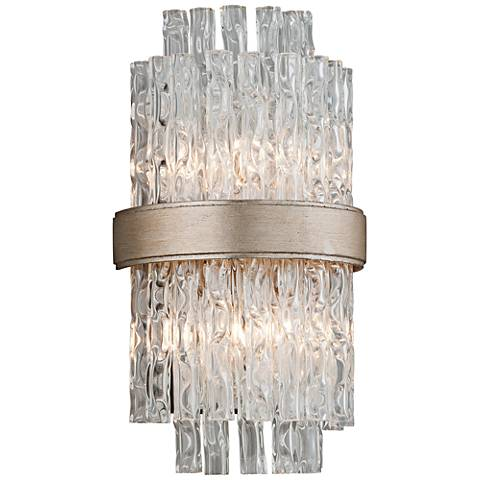"Corbett Chime 14"" High Silver and Tubular Glass Wall Sconce"