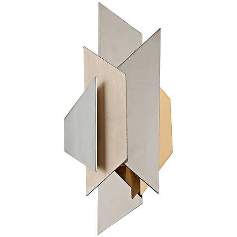 "Corbett Modernist 18 1/2"" High Polished Steel Wall Sconce"