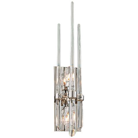 """Corbett Chill 24"""" High Silver Leaf Glass Spears Wall Sconce"""