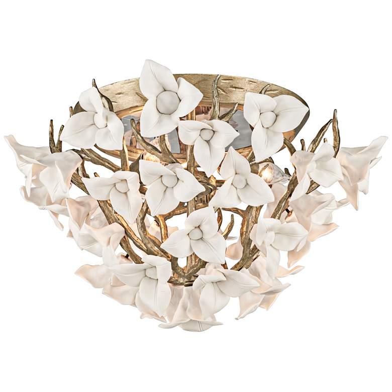 "Corbett Lily 18 1/4"" Wide Silver Leaf Ceiling Light"